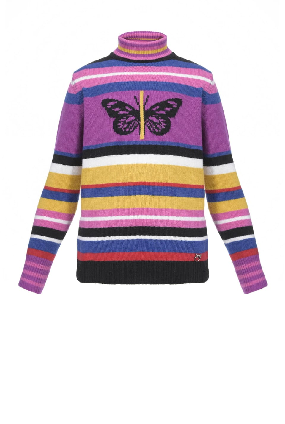 Striped turtleneck sweater with butterfly