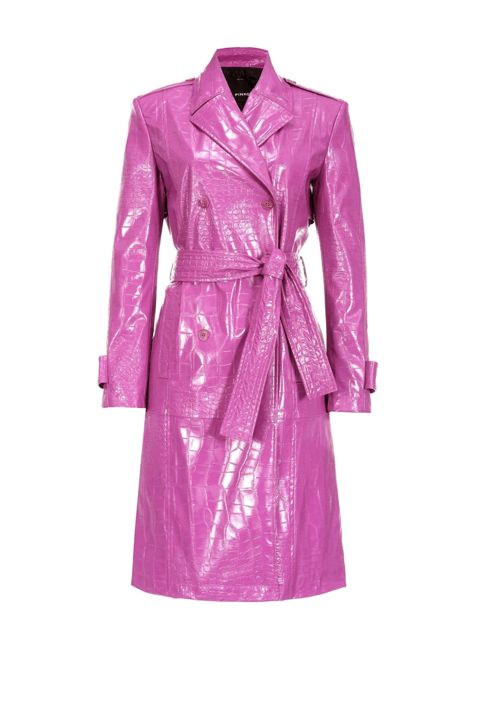 Crocodile-print trench coat