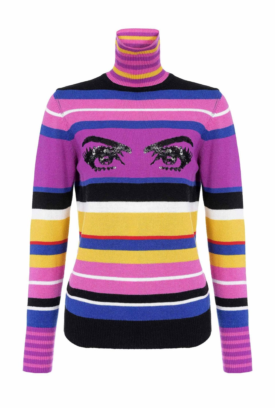 Striped turtleneck pullover with eyes