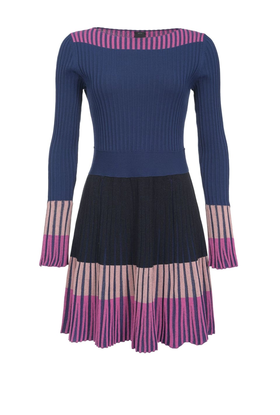 Dress in colour block knit