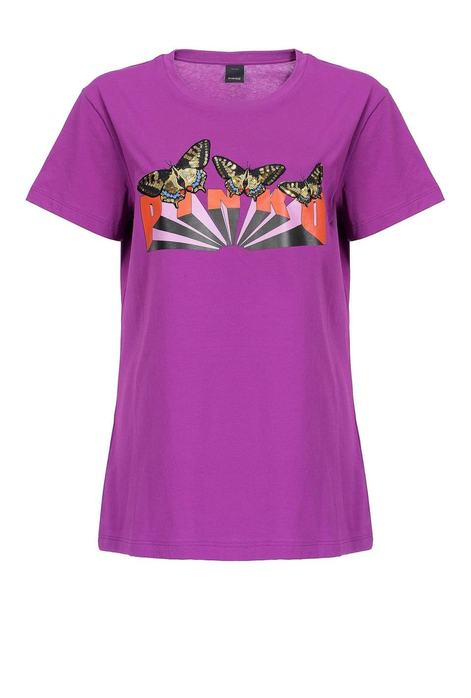 Camiseta con logotipo con mariposas