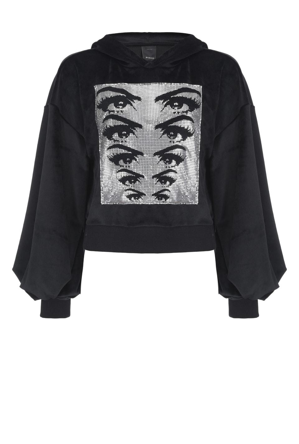 Cropped sweatshirt in chenille