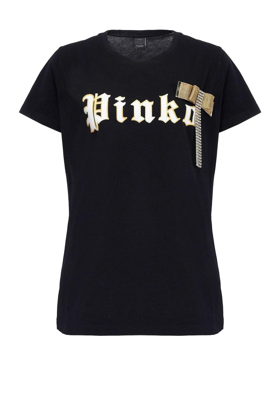 Camiseta con logotipo con flecos de strass