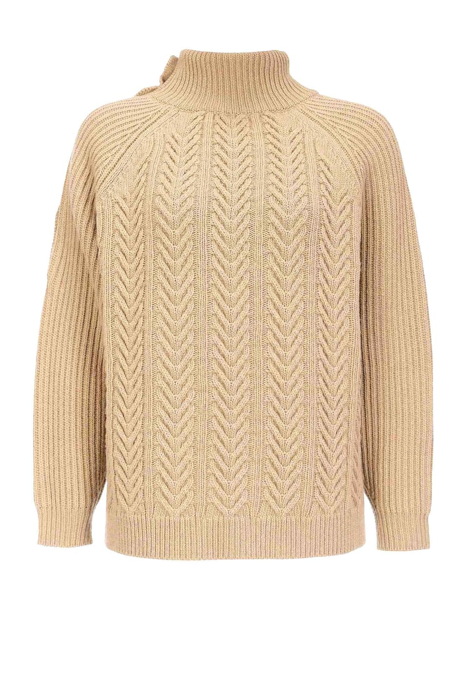 Braided and ribbed pullover