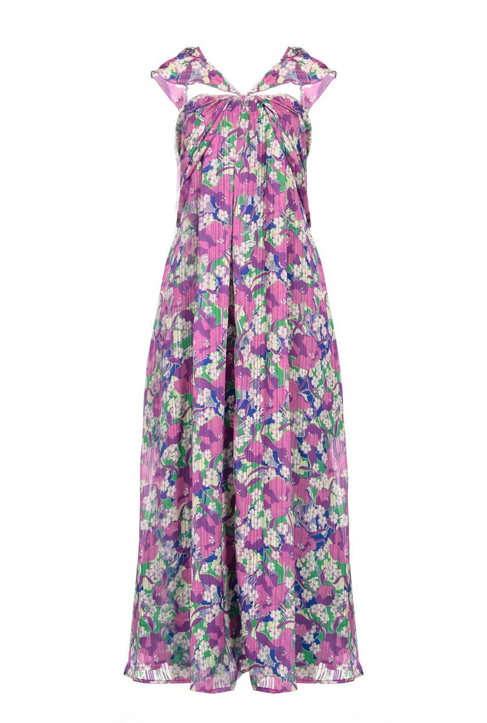 花朵图案迷笛连衣裙