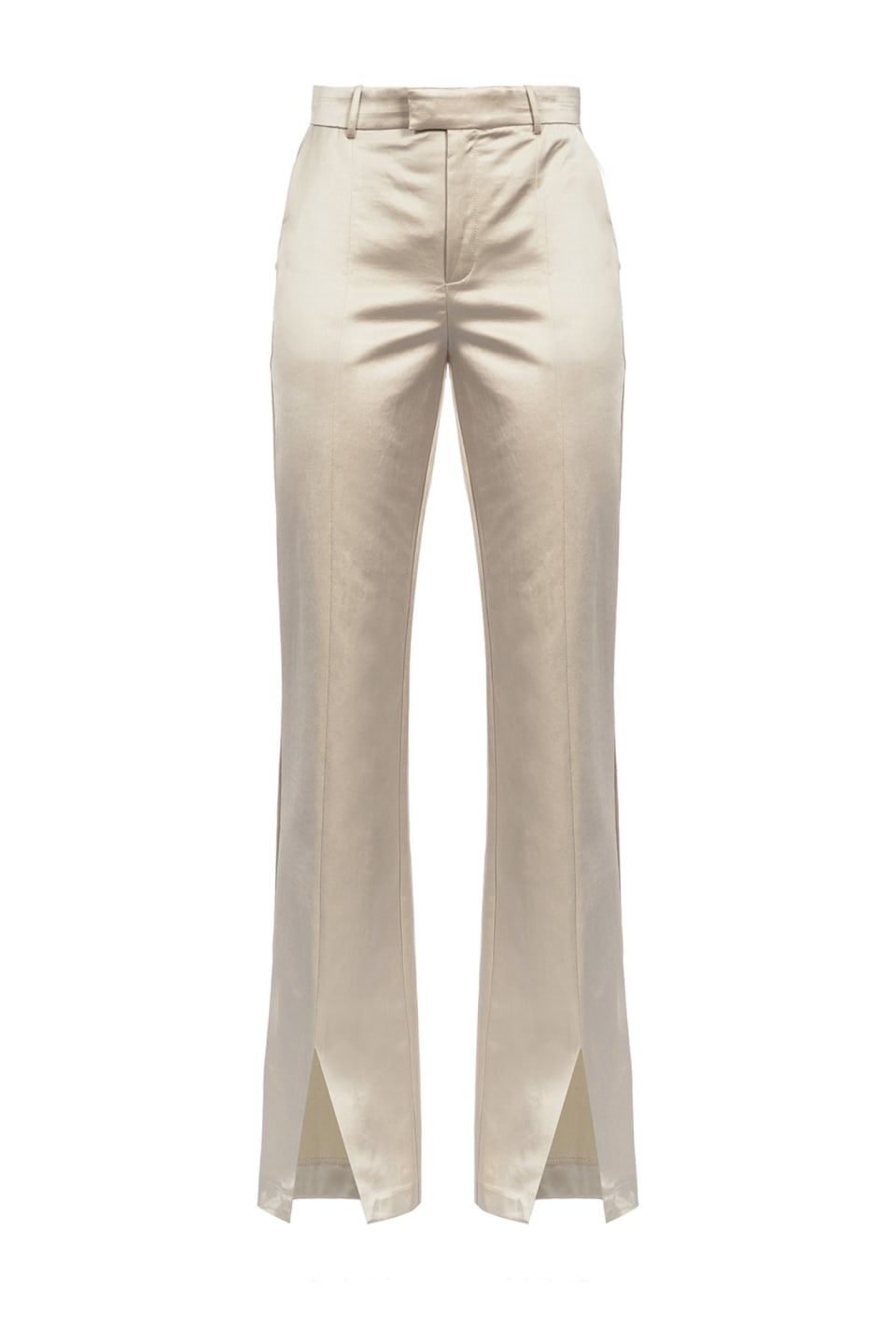 Satin trousers with slit at the hem