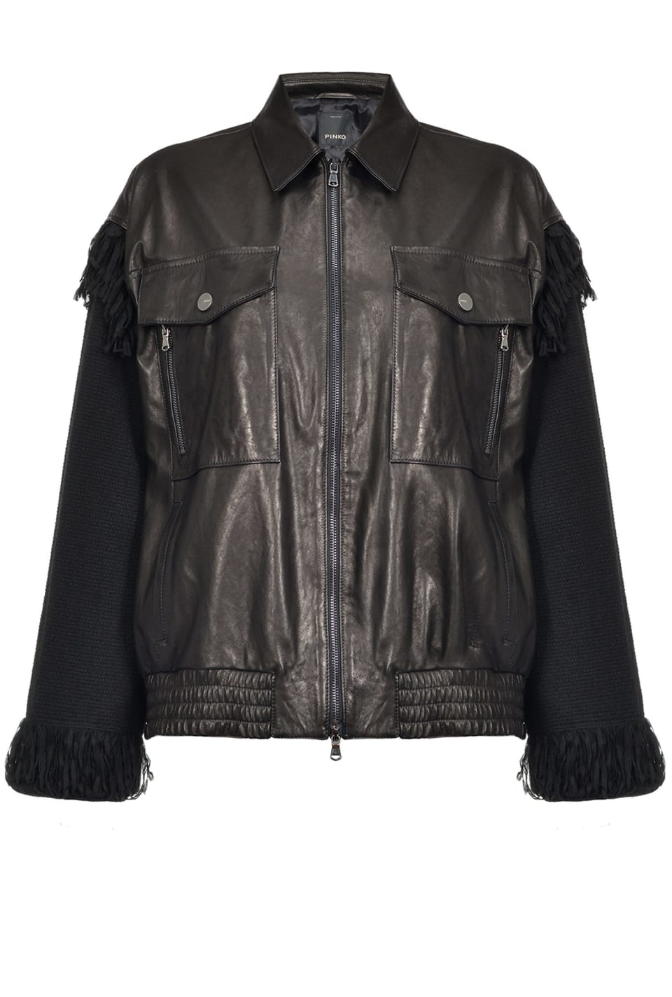Two-material fringed blouson