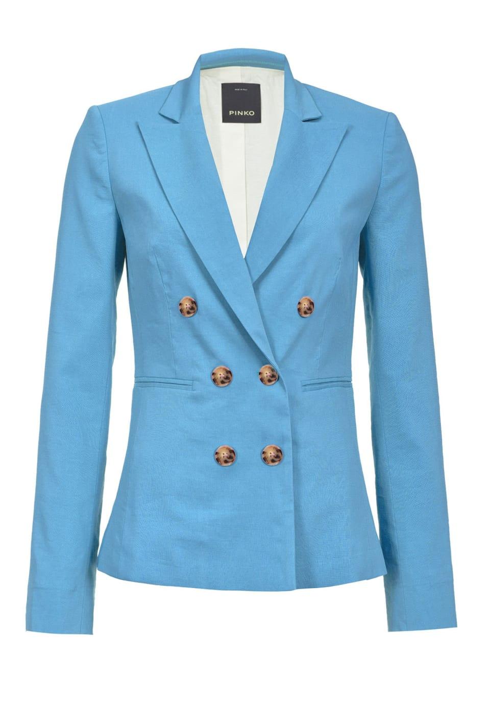 麻和粘胶混纺帆布西装外套