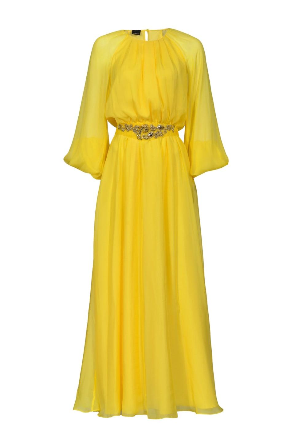 珠宝缝线装饰长款连衣裙
