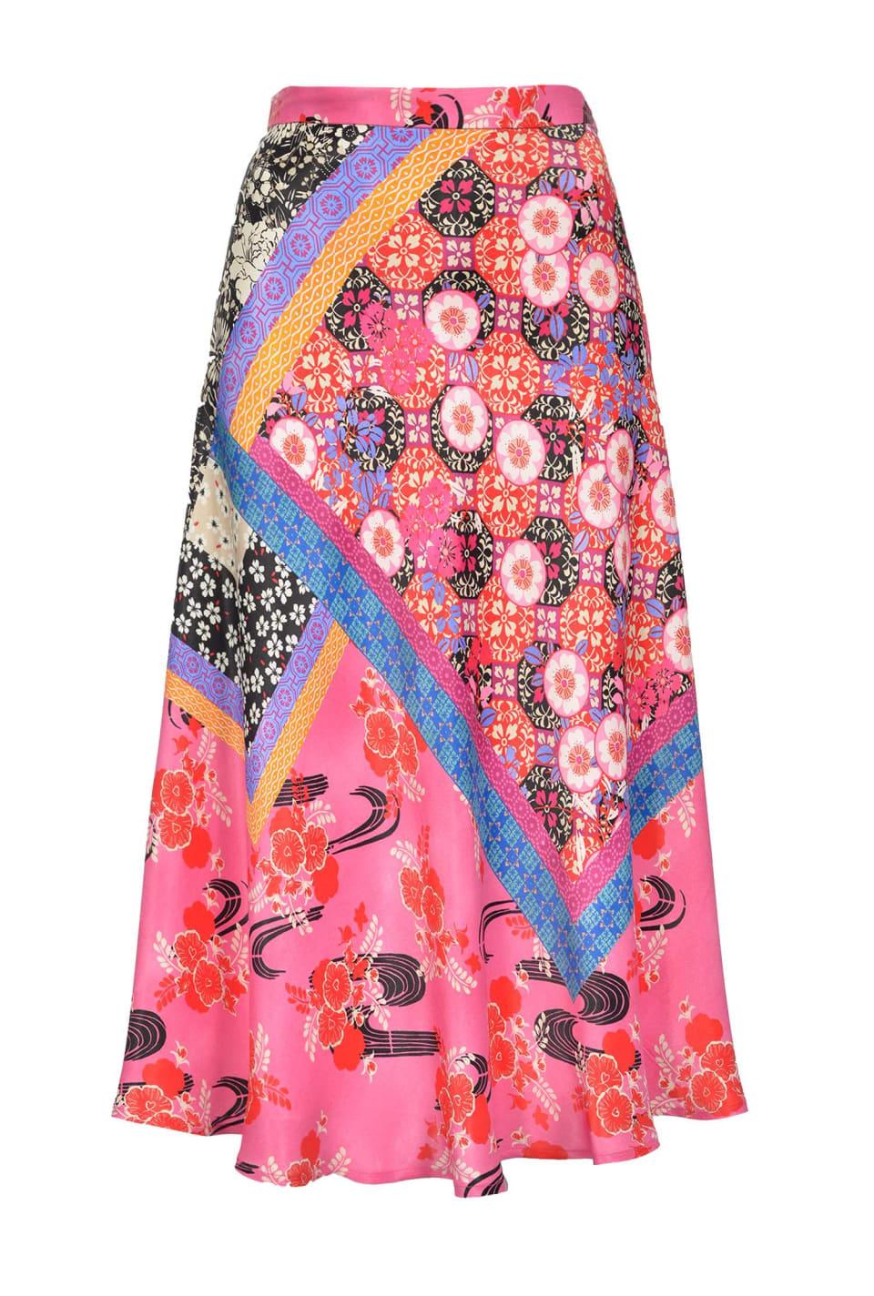 东方拼图印花半身裙