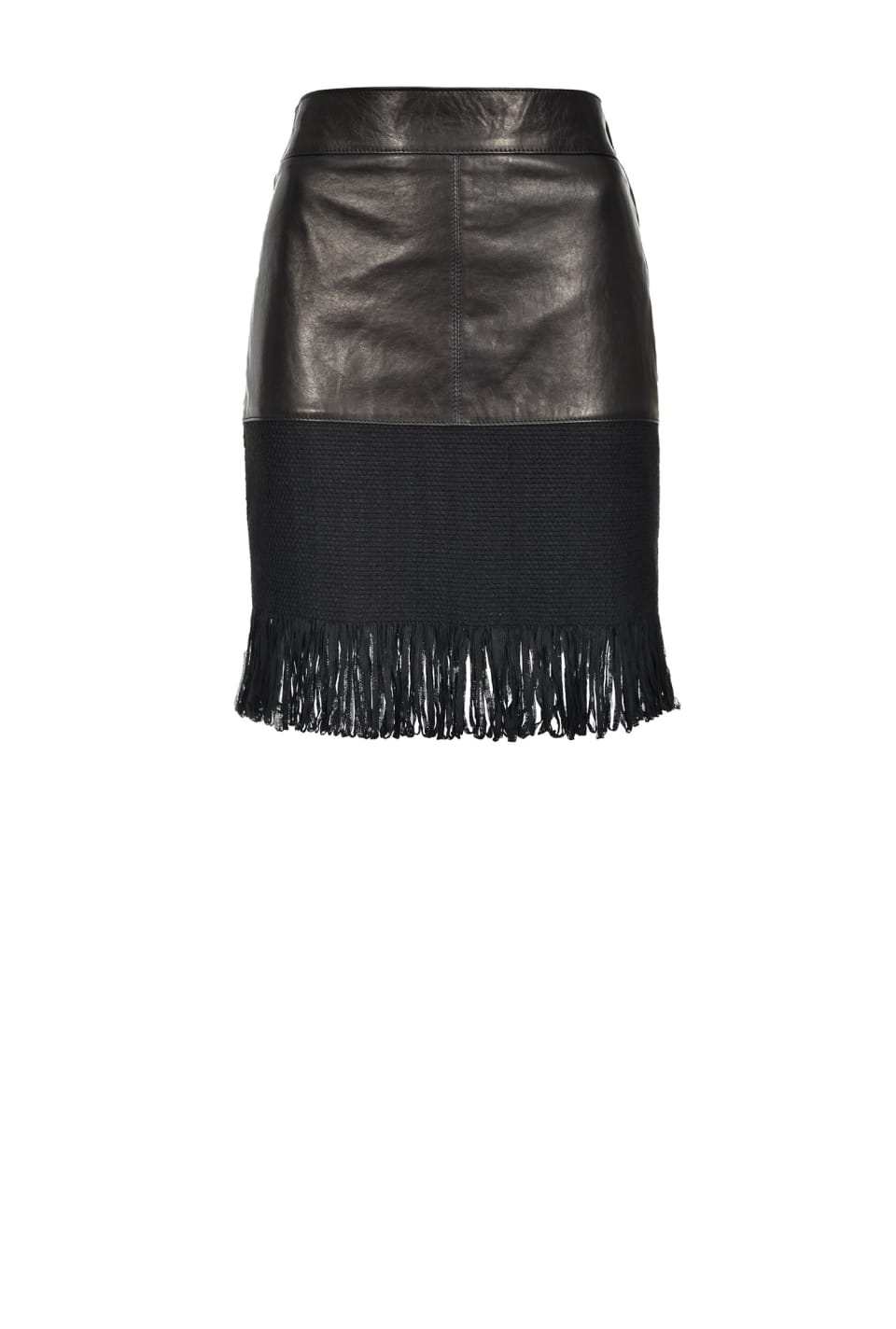 Leather mini skirt with fringes