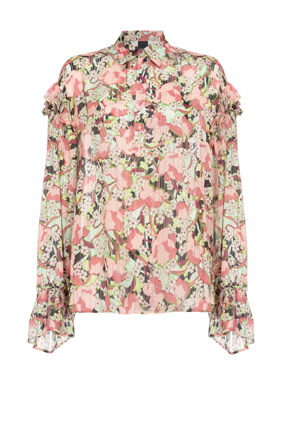 Floral shirt with ruffle