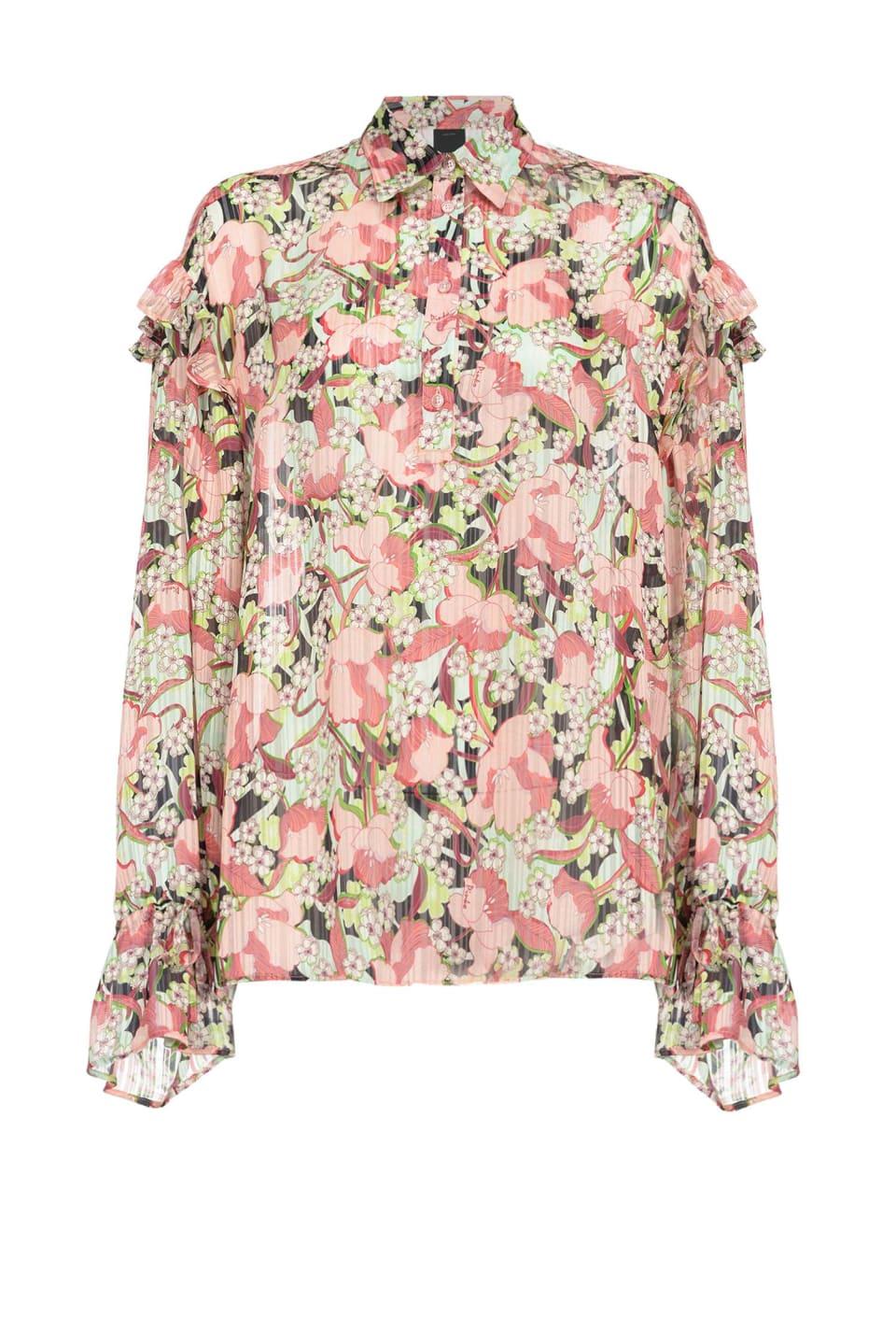 Camicia a fiori con rouche
