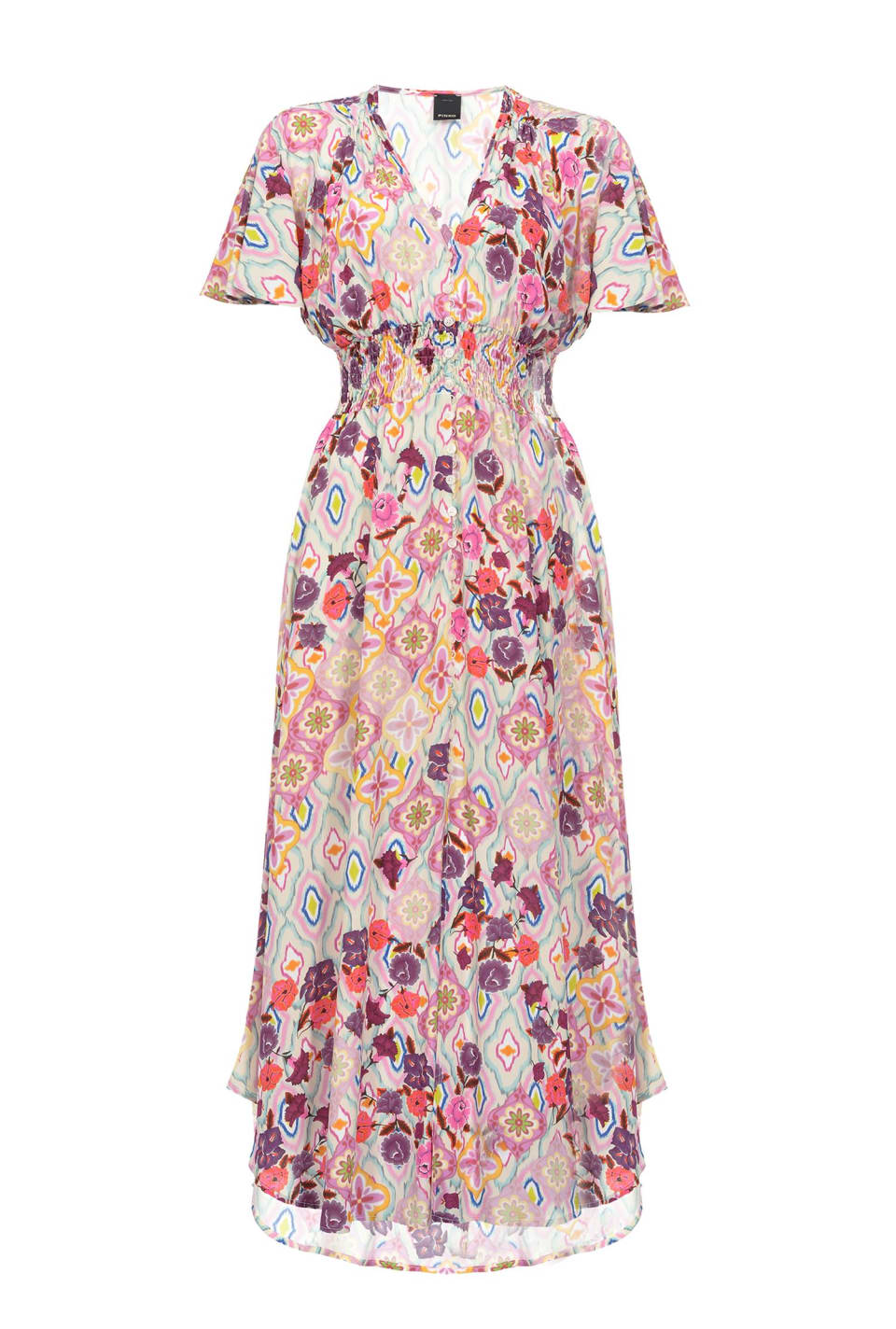 絣织花朵印花连衣裙