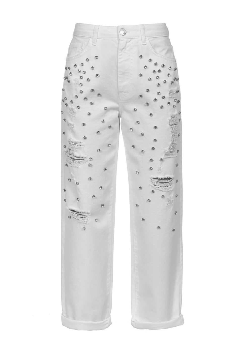 Mom-fit trousers with rhinestones