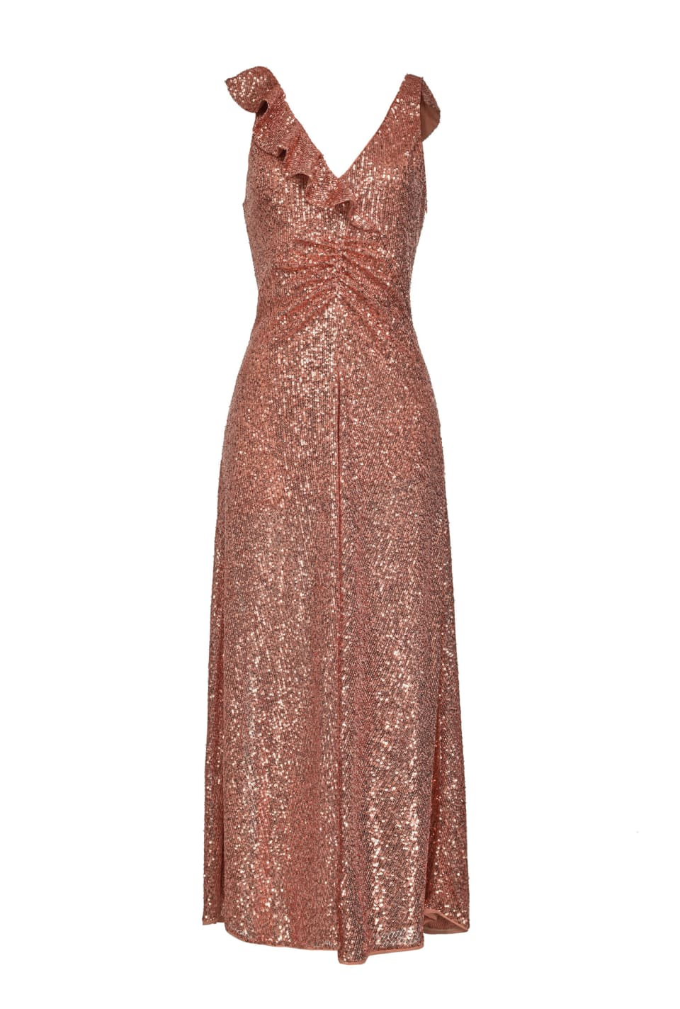 All-over sequin dress with ruffles