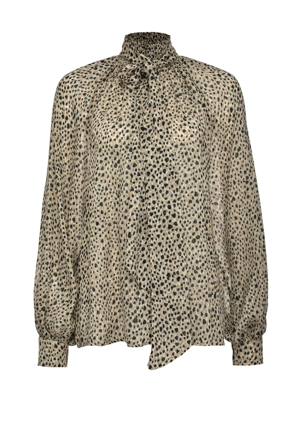 Supple blouse in micro leopard-print fil coupé - Pinko