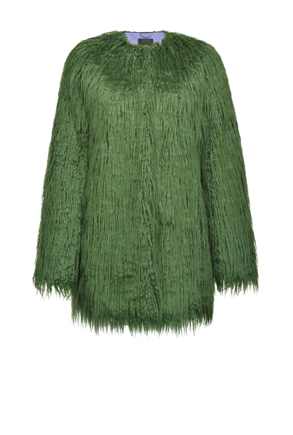 Mongolian-effect faux fur pea jacket - Pinko