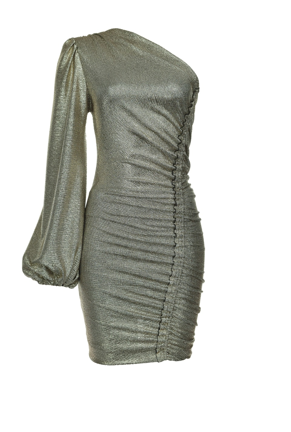 One-shoulder dress in laminated jersey - Pinko