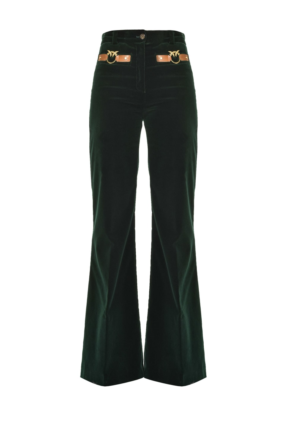 Flared trousers in velvet with Love Birds - Pinko