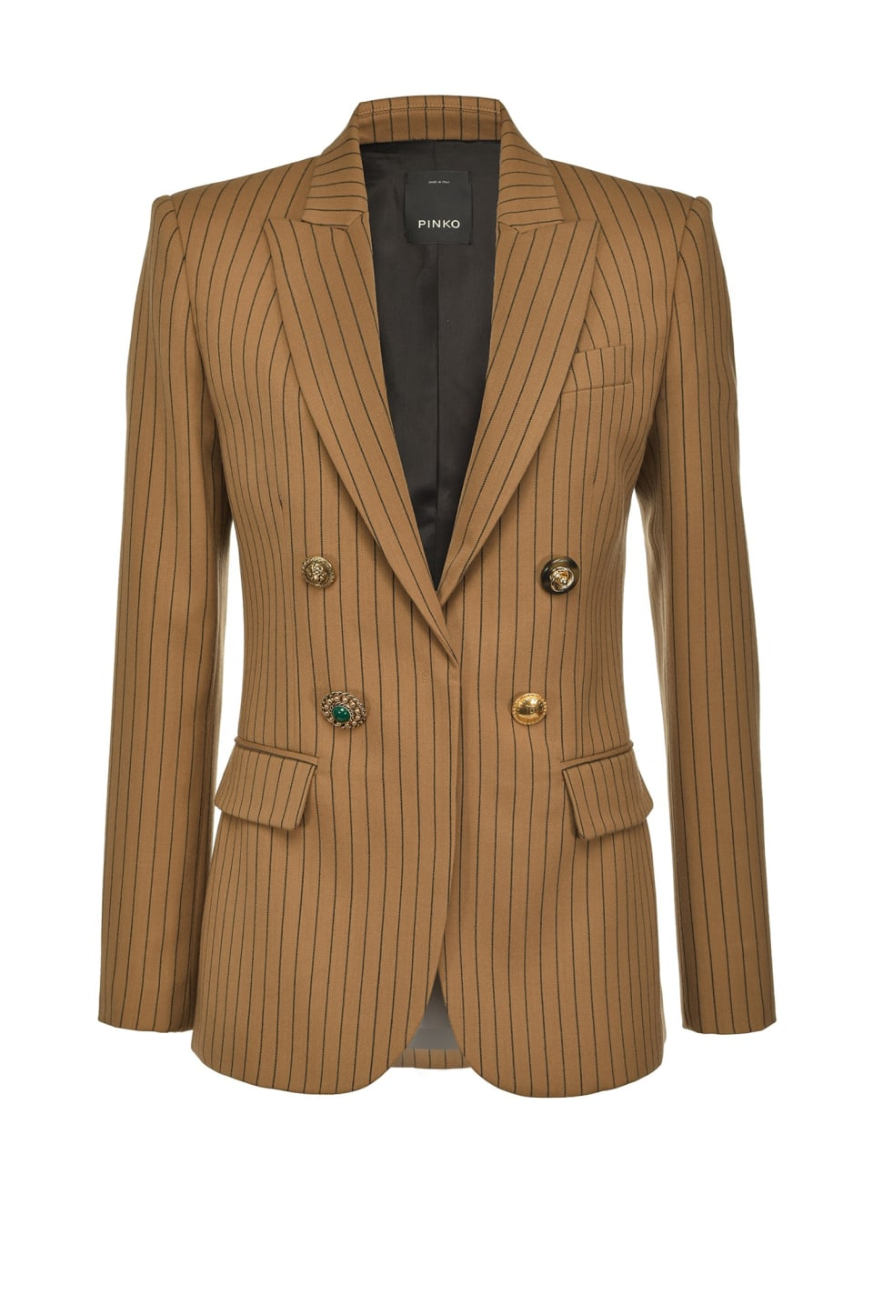 Pinstriped blazer with jewel buttons - Pinko