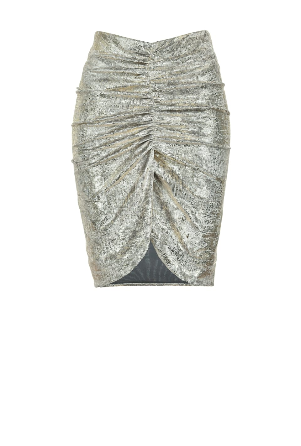 Mini skirt in laminated jersey chenille