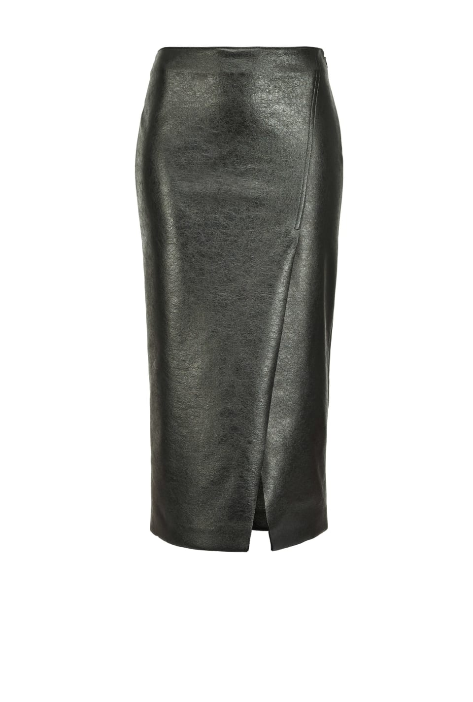 Laminated scuba-effect midi-length skirt