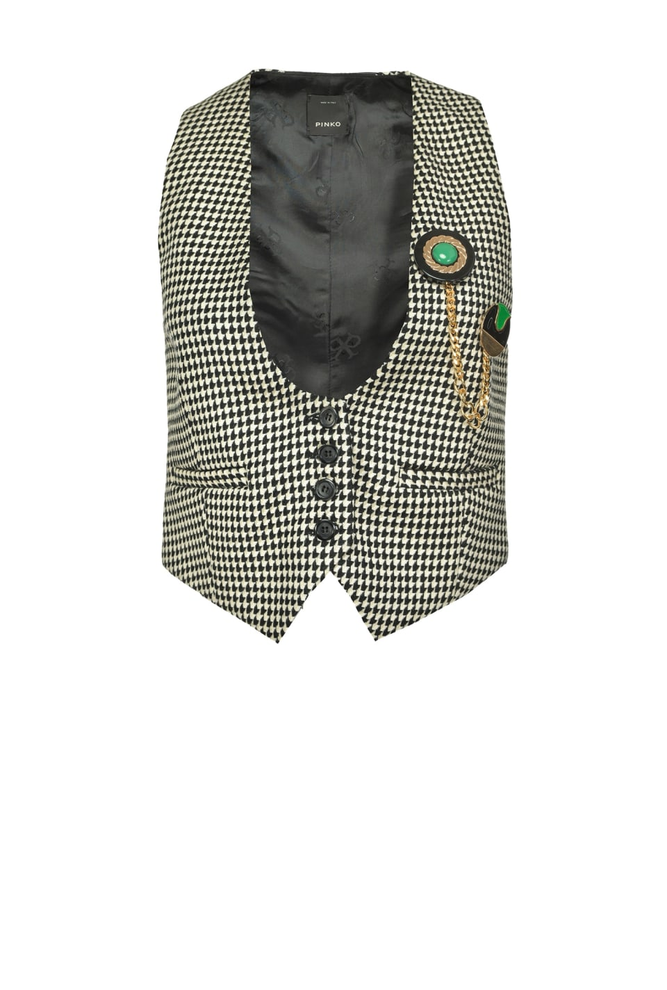 Houndstooth waistcoat with brooch - Pinko