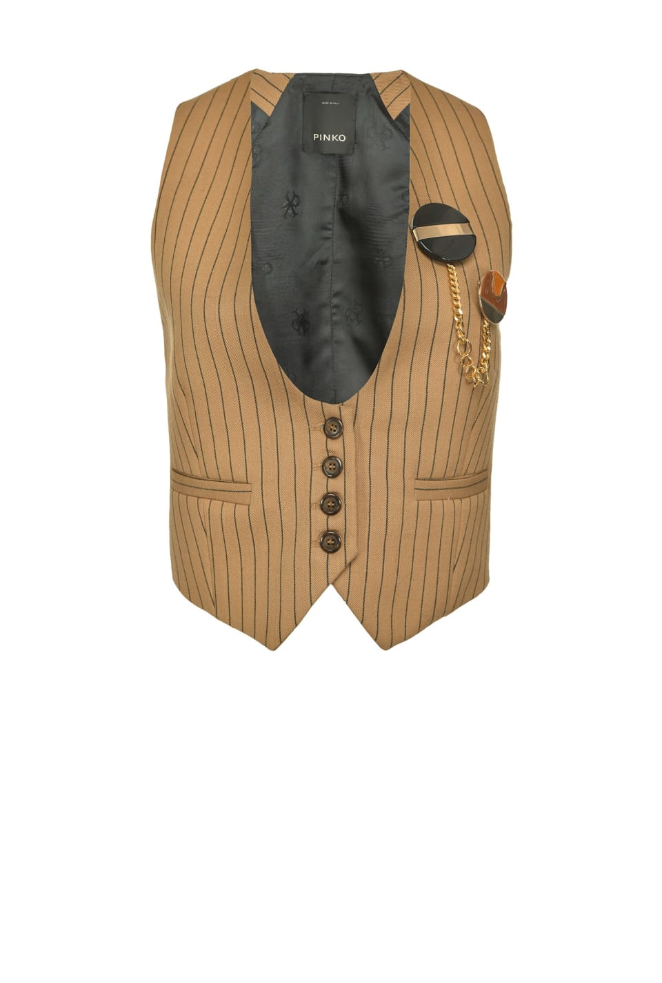 Pinstriped waistcoat with brooch