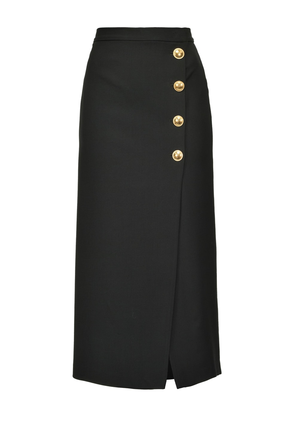 Midi-length skirt with maxi golden buttons