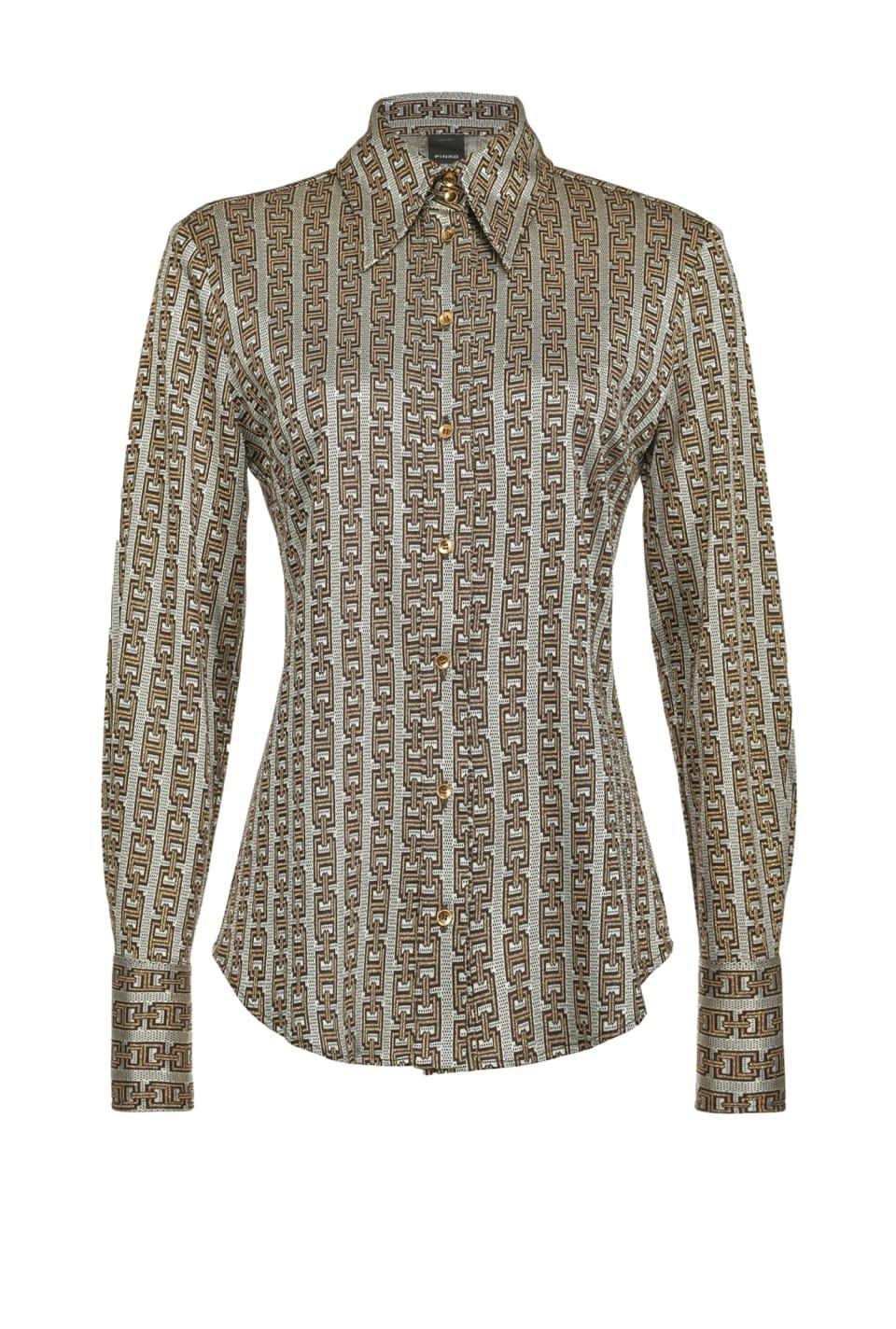 Chain-pattern jacquard shirt - Pinko
