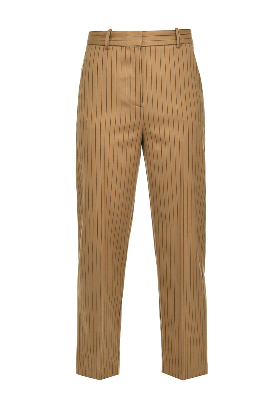 Straight pinstriped trousers