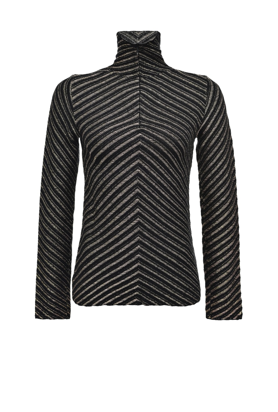 Turtleneck sweater in chevron jacquard - Pinko