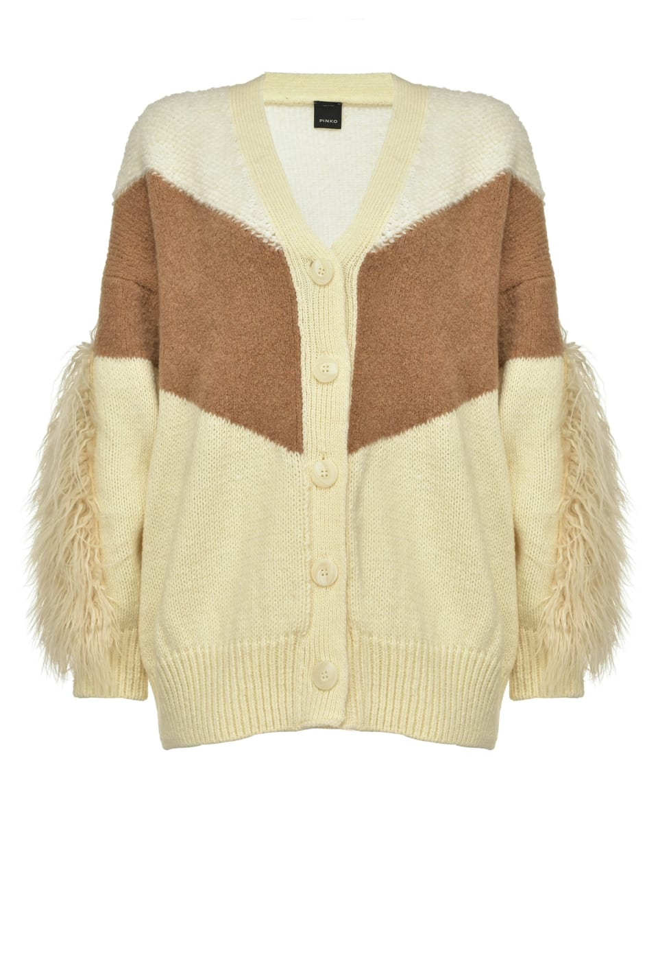 Oversized cardigan with faux-fur sleeves - Pinko