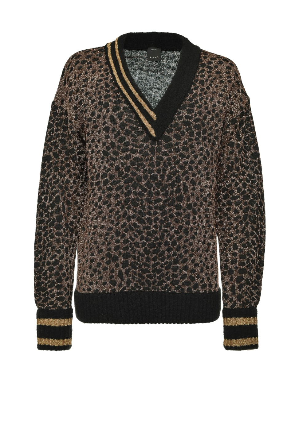 Ocelot jacquard lurex knit pullover - Pinko