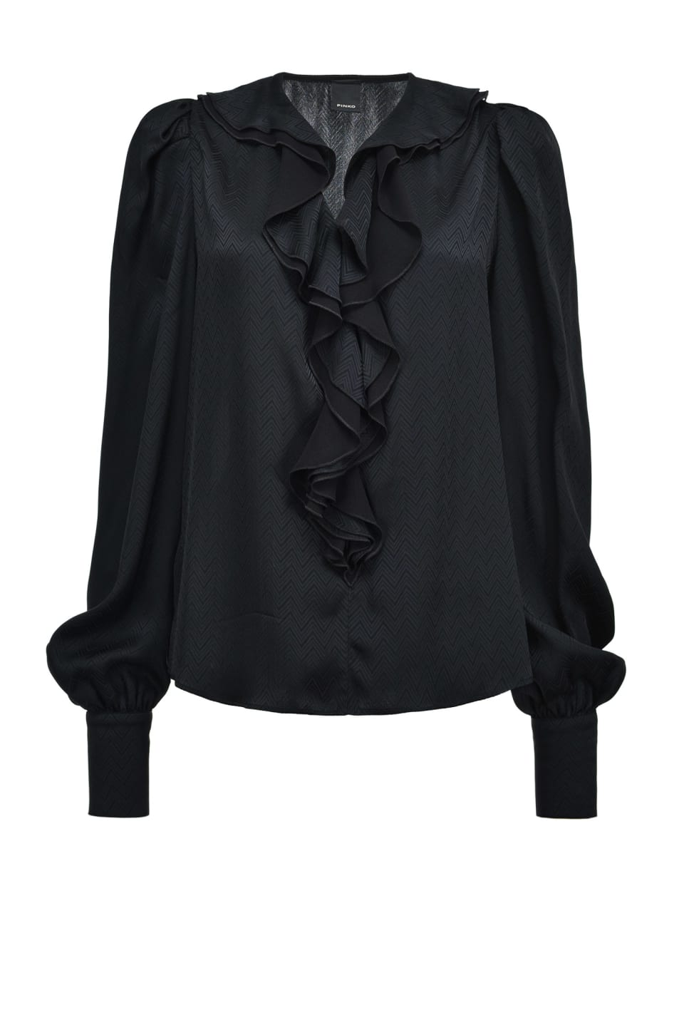 Supple chevron jacquard blouse with ruffles - Pinko