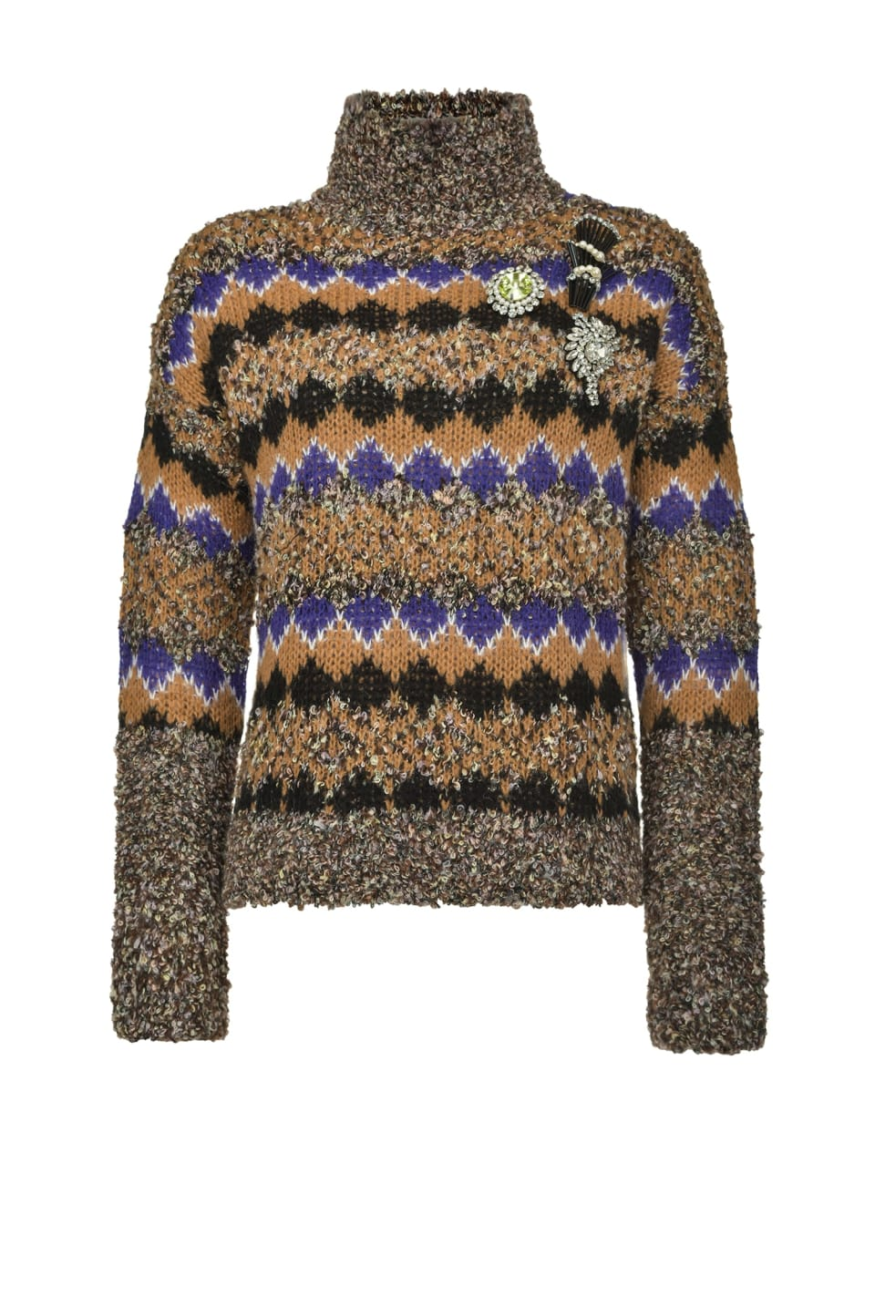 Turtleneck pullover in bouclé jacquard - Pinko