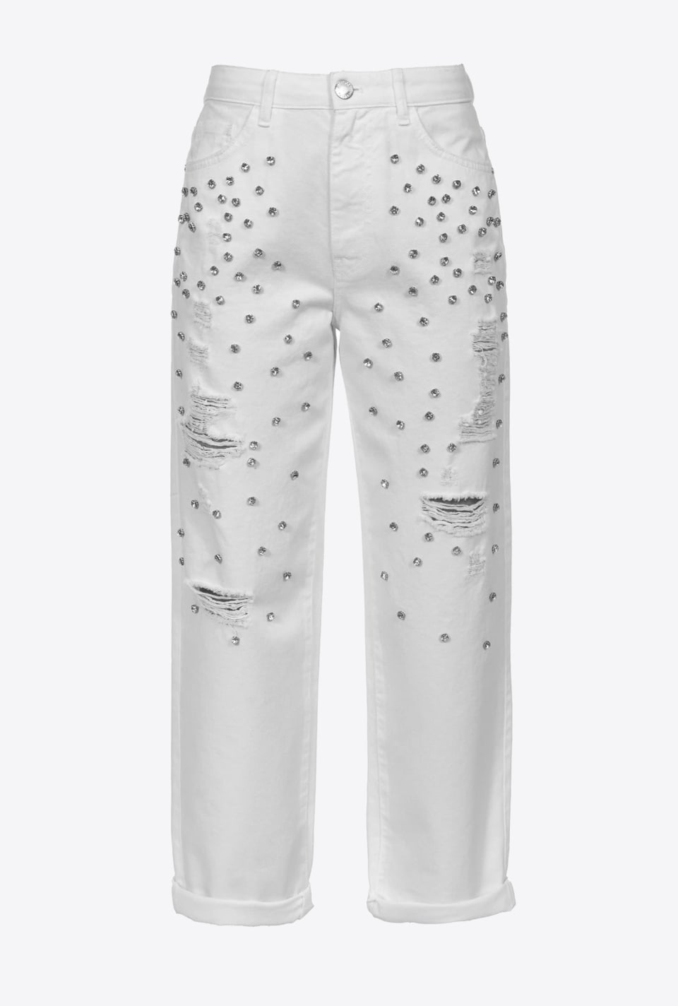 Mom-fit trousers with rhinestones - Pinko
