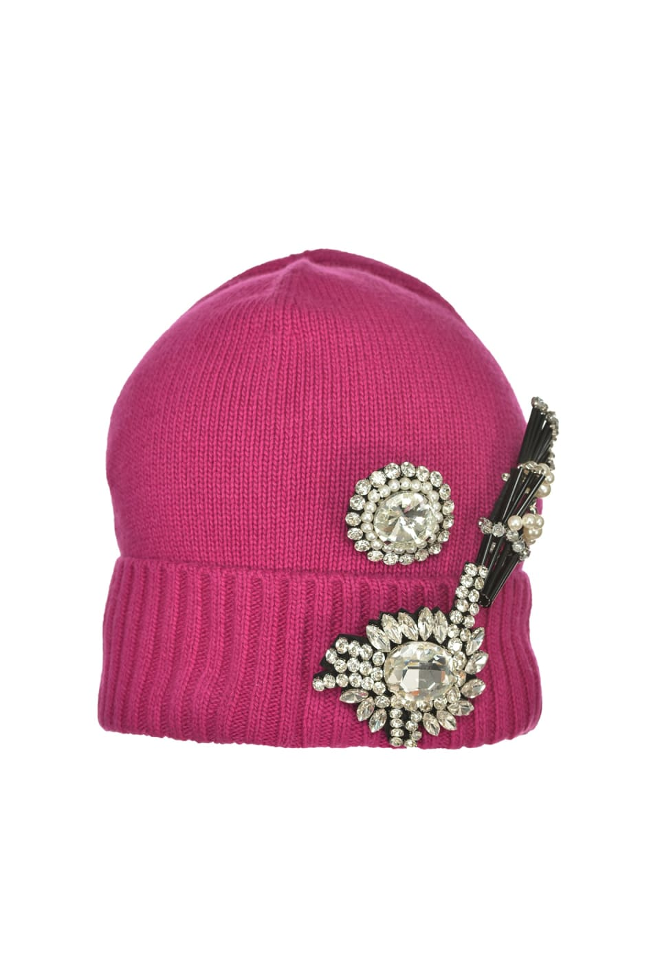 Beanie with jewel appliqués - Pinko