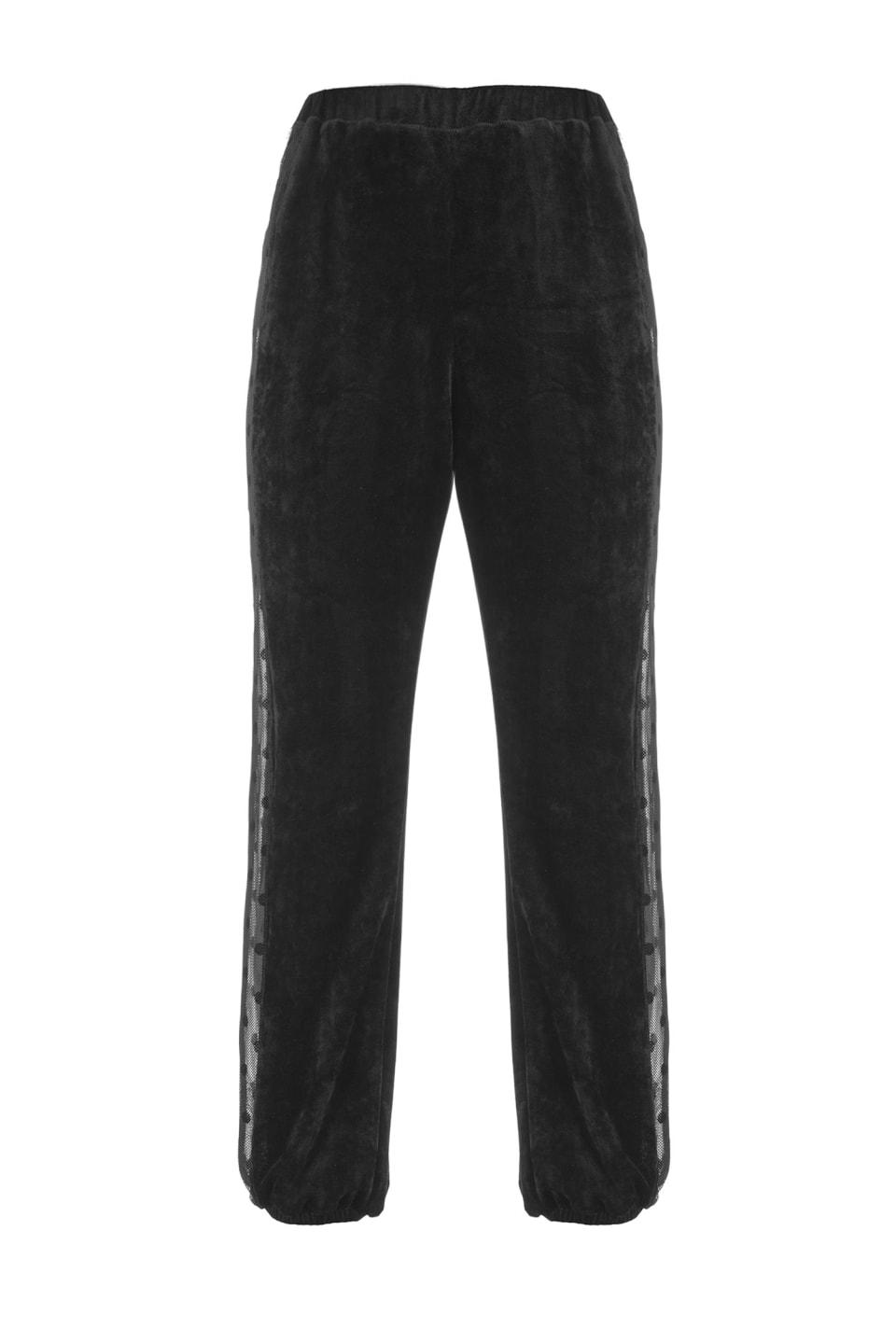 Pantalon de jogging en chenille et tissu filet