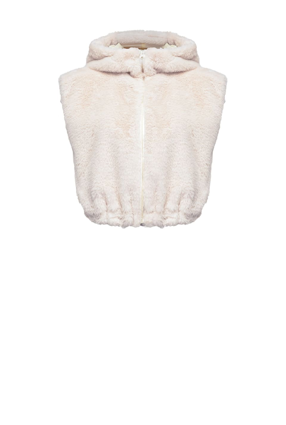 Short gilet in rabbit-effect faux fur - Pinko