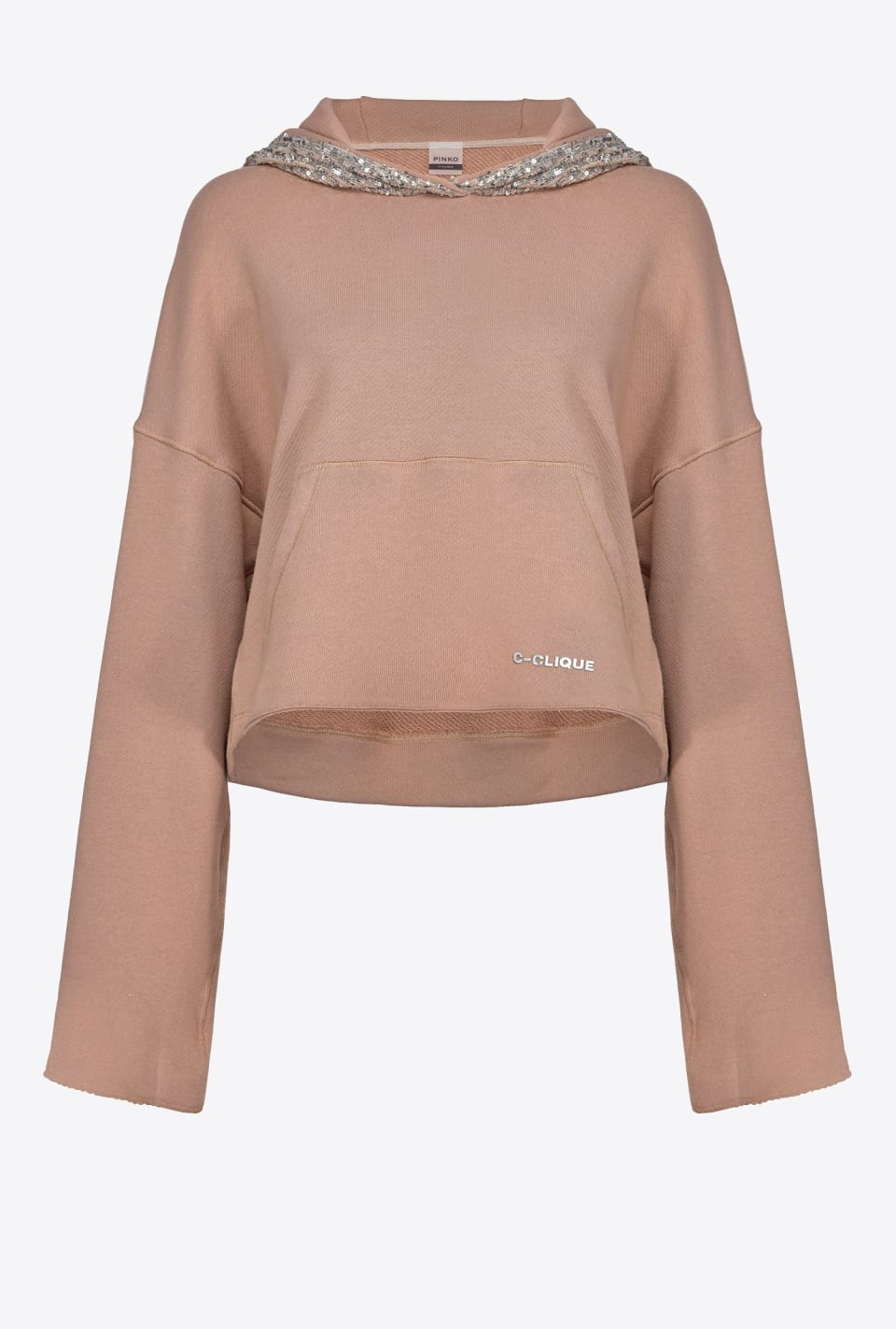 Cropped sequin hoodie - Pinko