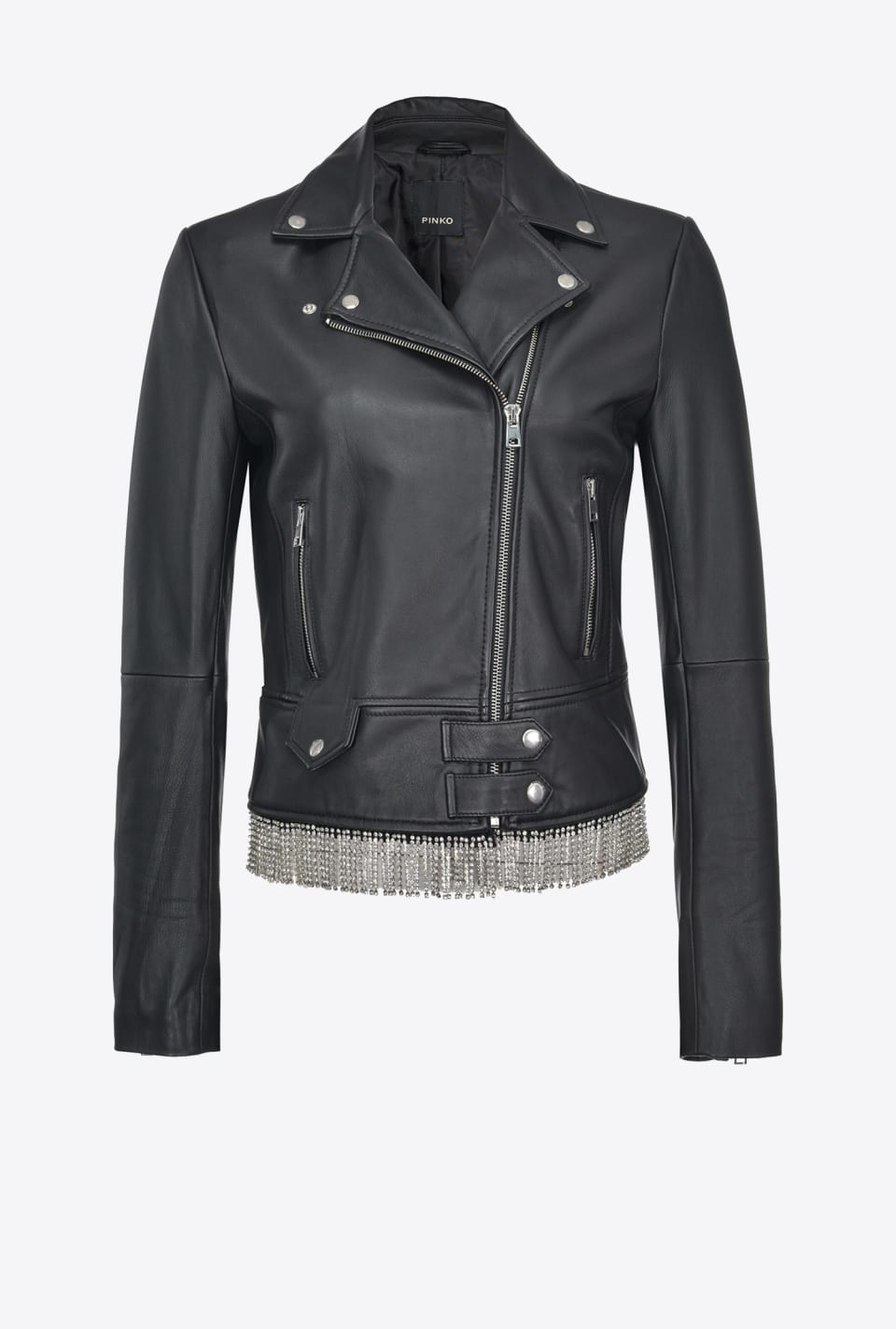 REIMAGINE Biker jacket in leather with rhinestones - Pinko