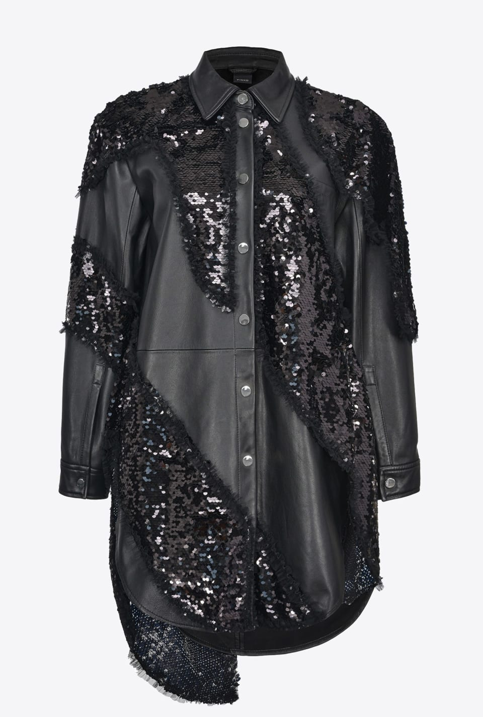 REIMAGINE leather shacket with sequins - Pinko