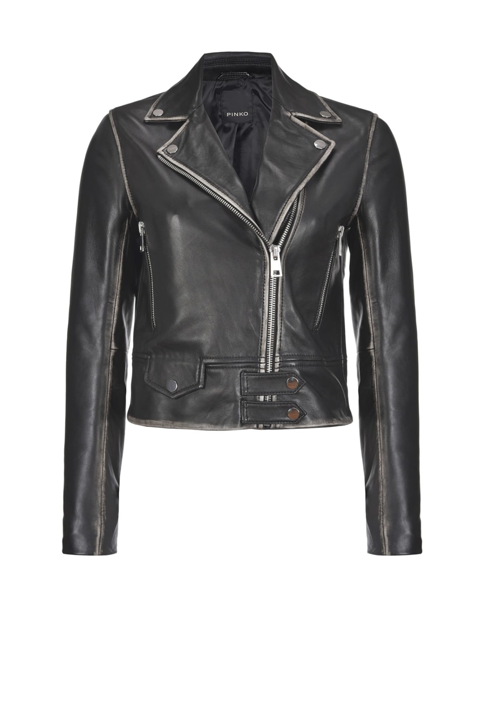 Old-look leather biker jacket