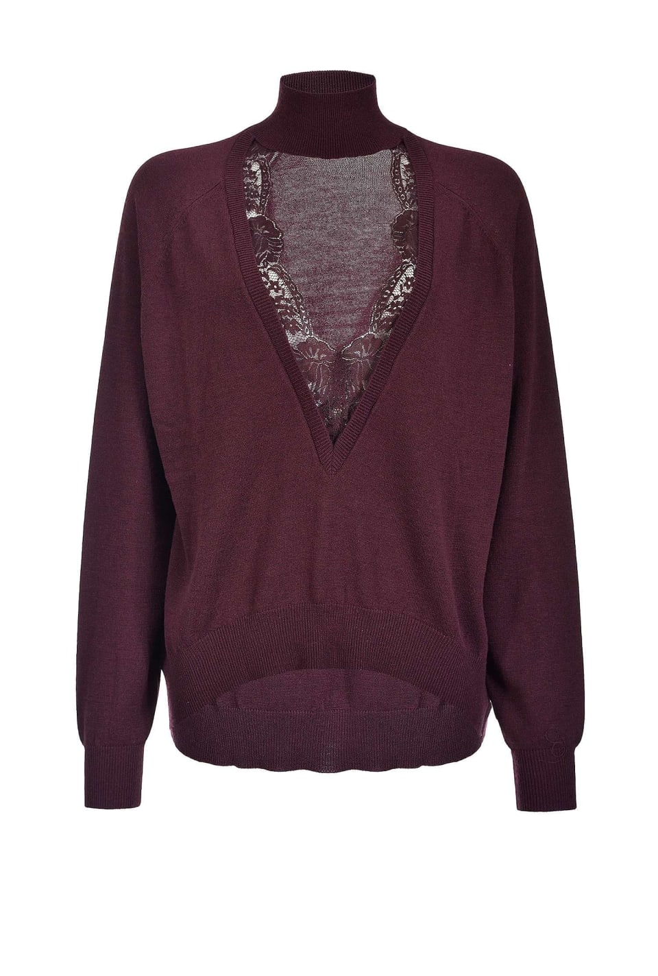 Cashmere blend pullover with lace