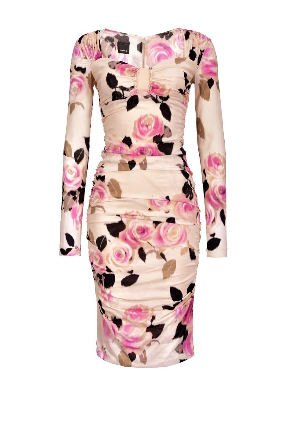 Vestido de georgette con estampado de flores chiné
