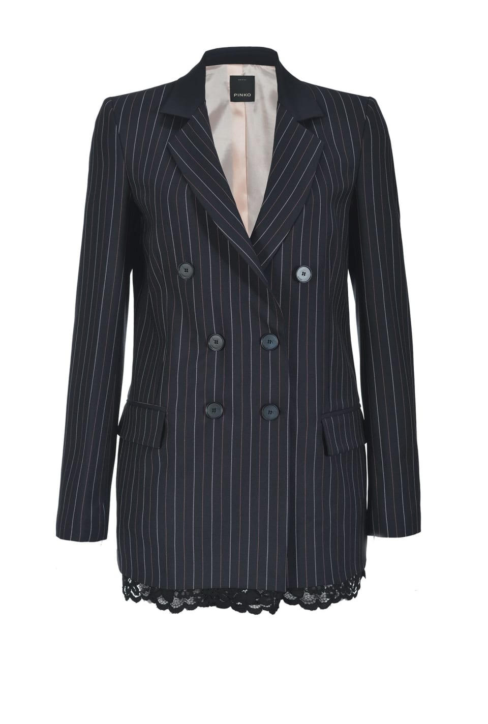 Pinstripe blazer with lace