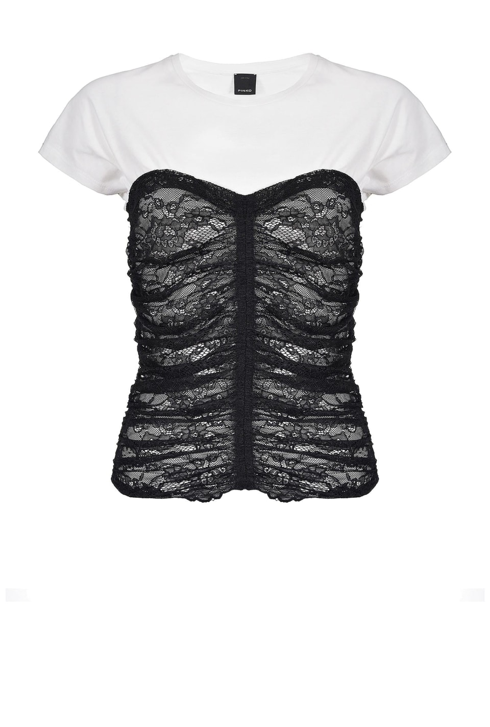 T-shirt con bustier in pizzo
