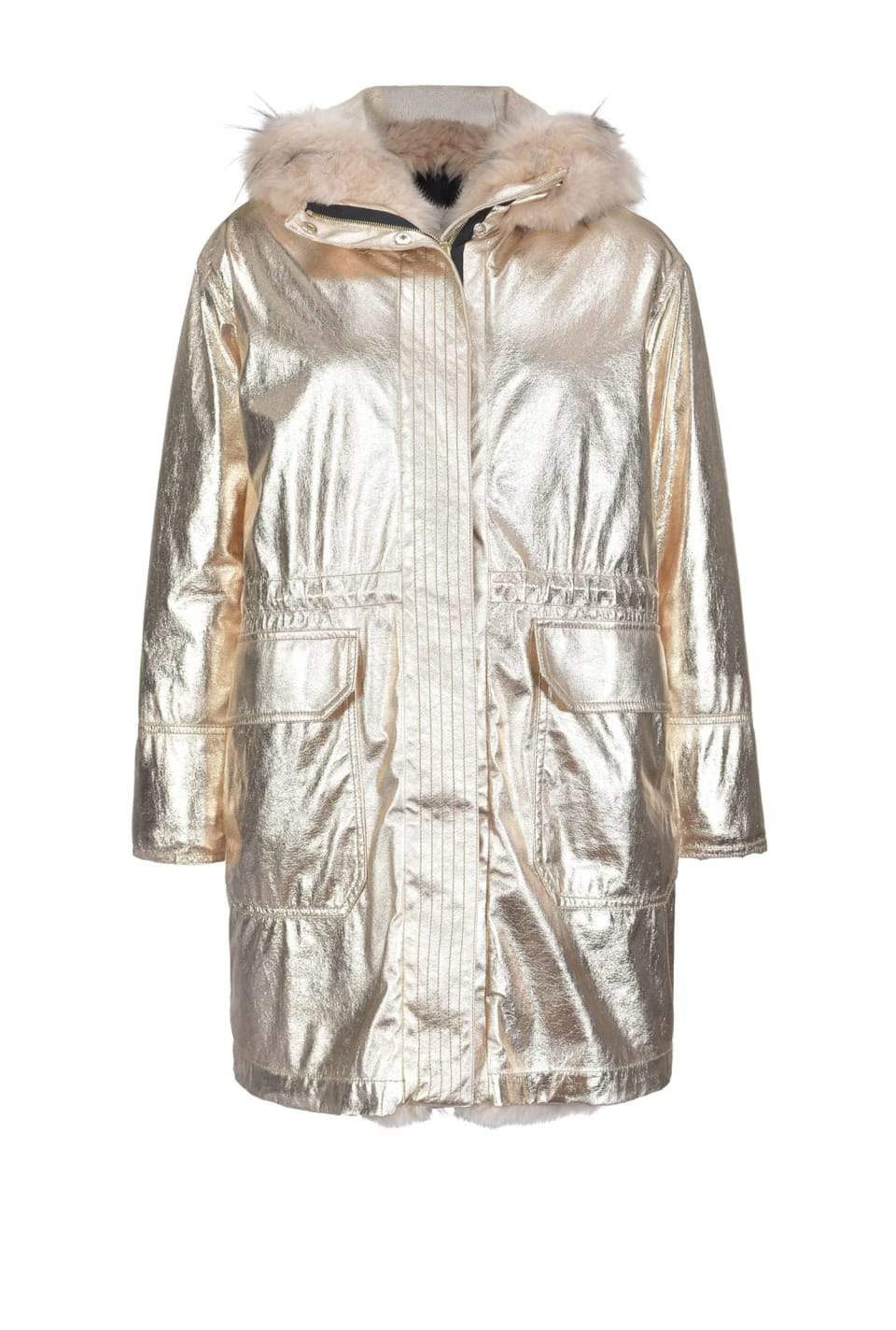 Crackle effect laminated parka
